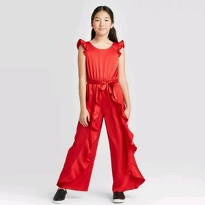 Art Class Red Ruffle Girl Jumpsuit Size L